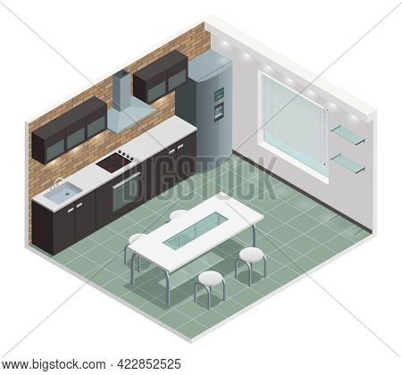 Modern Family Kitchen Isometric View With Counter Built In Oven And European Style Cabinets Vector I