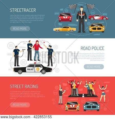 Street Racing Flat Horizontal Banners Set With Information About Participants And Road Police Abstra