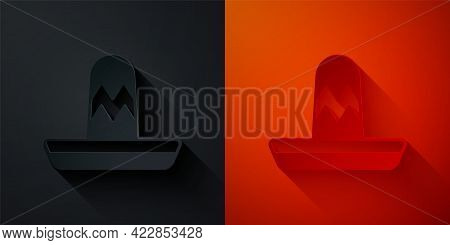 Paper Cut Traditional Mexican Sombrero Hat Icon Isolated On Black And Red Background. Paper Art Styl
