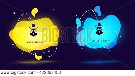 Black Mexican Man Wearing Sombrero Icon Isolated On Black Background. Hispanic Man With A Mustache.