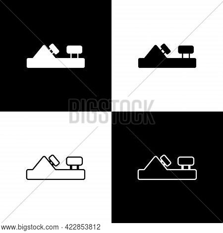 Set Wood Plane Tool For Woodworker Hand Crafted Icon Isolated On Black And White Background. Jointer