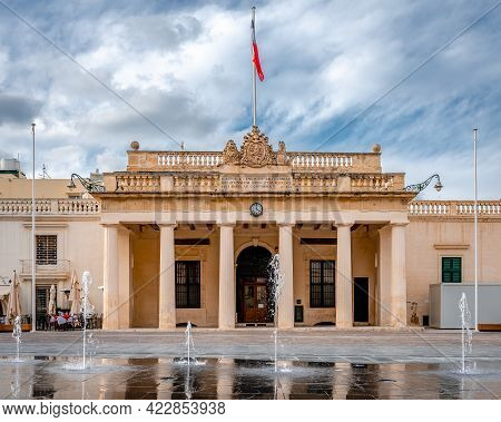 The Main Facade Of The Grandmaster's Palace In St. George's Square In Valletta, Malta.