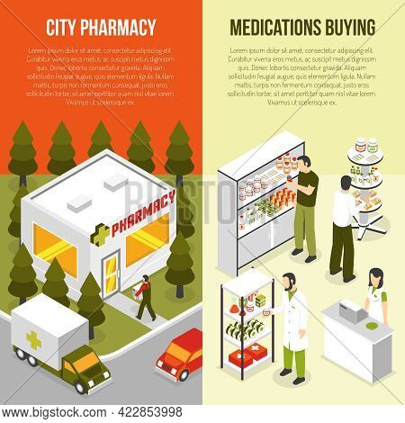 Pharmacy Drugstore 2 Vertical Isometric Banners Set With Apothecary Attending Customers And Ambulanc
