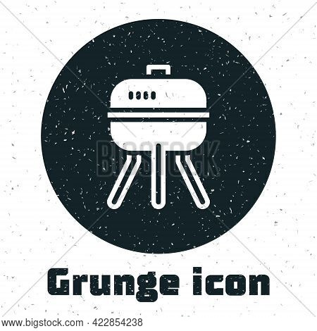 Grunge Barbecue Grill Icon Isolated On White Background. Bbq Grill Party. Monochrome Vintage Drawing