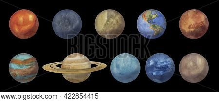 Watercolor Set Of Planets Of The Solar System: Mercury, Venus, Earth, Mars, Jupiter, Saturn, Uranus,