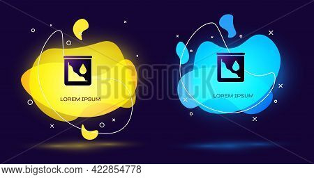 Black Drop In Crude Oil Price Icon Isolated On Black Background. Oil Industry Crisis Concept. Abstra