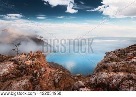 Panoramic View Of Baikal Lake In Foggy Morning. Beautiful Spring Landscape. Baikal Lake, Siberia, Ru