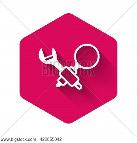 White Debugging Icon Isolated With Long Shadow Background. Debugging Tool. Magnifying Glass On Bug P