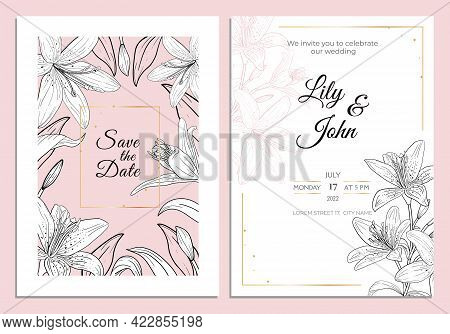 Lily Wedding Invitation Card, Save The Date Template. Black And White Lily Flowers And Leaves With G