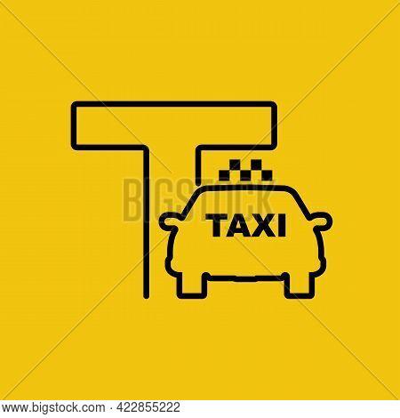 Taxi Sign. Linear Icon, Taxi Service, Minimalist Design. Black Line Silhouette Of A Car. Vector Illu