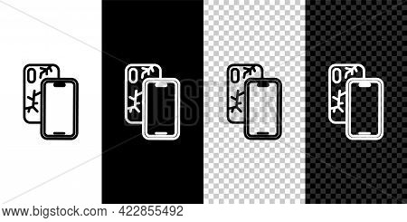 Set Line Smartphone With Broken Screen Icon Isolated On Black And White, Transparent Background. Sha