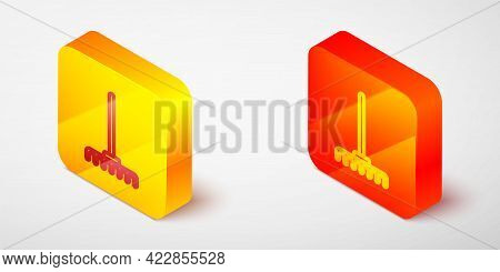 Isometric Line Garden Rake Icon Isolated On Grey Background. Tool For Horticulture, Agriculture, Far