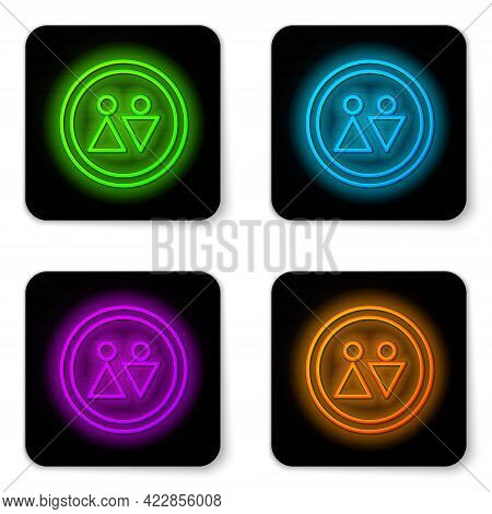 Glowing Neon Line Toilet Icon Isolated On White Background. Wc Sign. Washroom. Black Square Button.