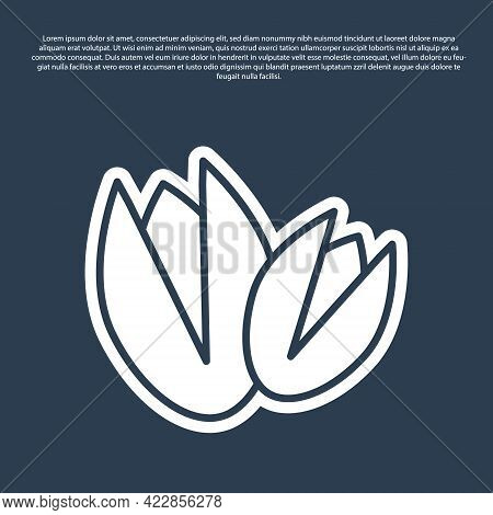 Blue Line Pistachio Nuts Icon Isolated On Blue Background. Vector