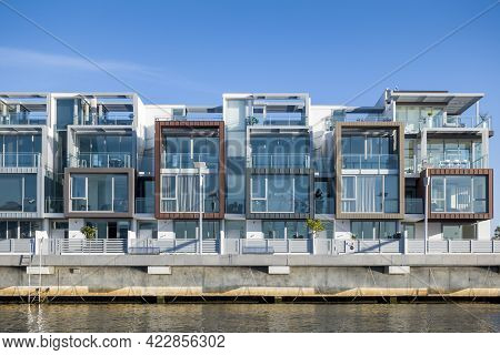 Melbourne, Australia - May 17, 2019: Luxury Waterfront Apartments Viewed From The Yarra River.