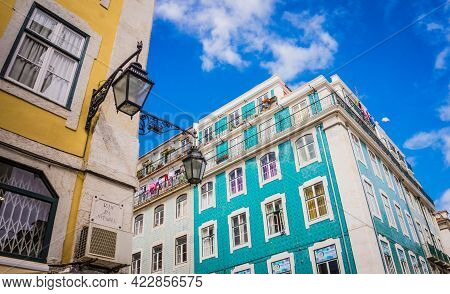 Lisbon, Portugal - March 25, 2017: Colorful Blue And Yellow Buildings Of Lisbon, Portugal. Vintage L