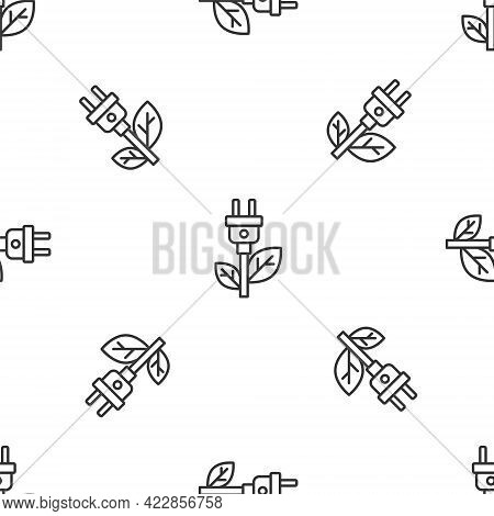 Grey Line Electric Saving Plug In Leaf Icon Isolated Seamless Pattern On White Background. Save Ener