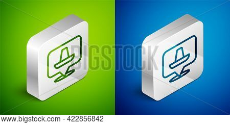Isometric Line Traditional Mexican Sombrero Hat Icon Isolated On Green And Blue Background. Silver S