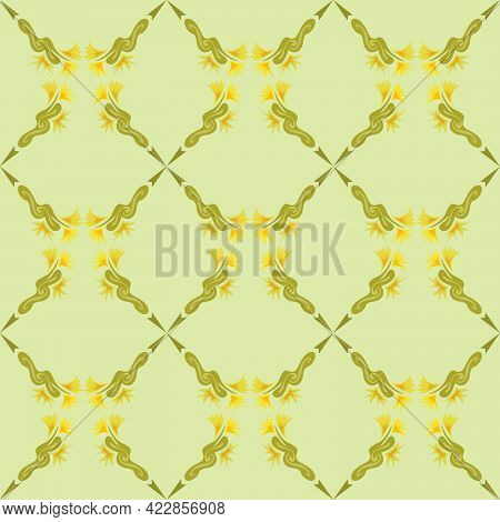 Seamless Abstract Pattern In Pastel Colors For Printing On Fabrics Of Clothes, Bed Linen, Towels, Na