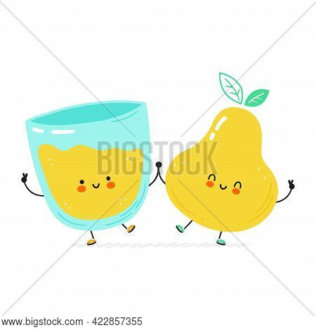 Cute Happy Pear And Juice Glass. Isolated On White Background. Vector Cartoon Character Hand Drawn S