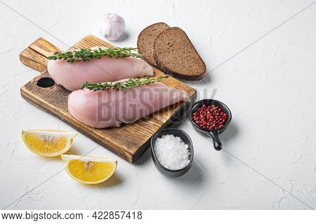 Crumbed Uncooked Chicken Breasts Ingredient  On White Background With Space For Text