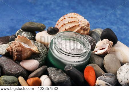 Marine Collagen Powder On The Background Of Stones. Natural Supplement. Healthy Lifestyle Concept. H