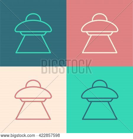 Pop Art Line Ufo Flying Spaceship Icon Isolated On Color Background. Flying Saucer. Alien Space Ship
