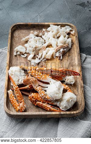 Boiled Blue Swimmer Crab Meat Or Horse Blue Crab, Flower Crab Set, On Gray Background