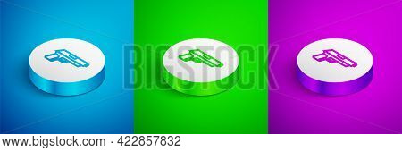 Isometric Line Pistol Or Gun Icon Isolated On Blue, Green And Purple Background. Police Or Military