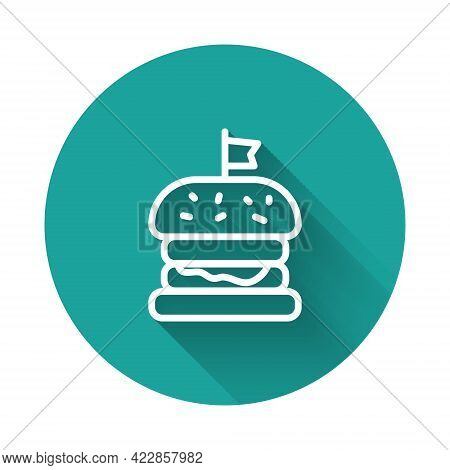 White Line Burger Icon Isolated With Long Shadow Background. Hamburger Icon. Cheeseburger Sandwich S