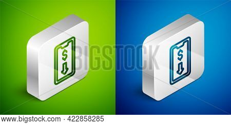 Isometric Line Mobile Stock Trading Concept Icon Isolated On Green And Blue Background. Online Tradi