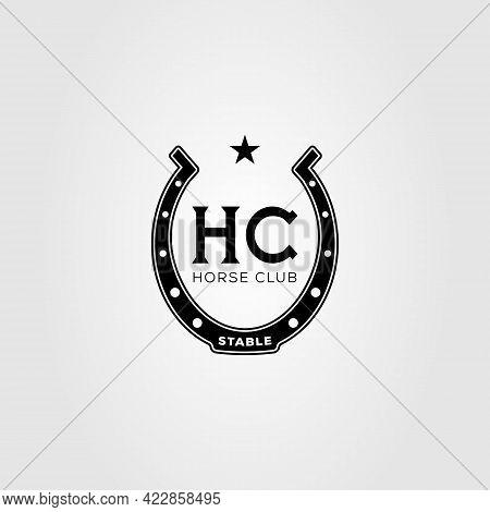 Horse Shoe Stable Logo Vector Illustration Design