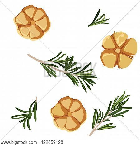 Pickled Garlic With Rosemary Vector Stock Illustration. Seasonings For Cooking Meat Dishes. Garlic H