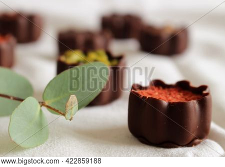 Top View Of Various Chocolate Pralines Isolated On White Background.exclusive Chocolate Candies. Pro