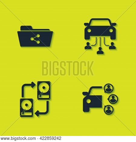 Set Share Folder, Car Sharing, Data Exchange With Hhd And Icon. Vector