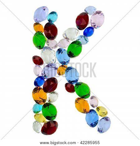 Letter K of gems