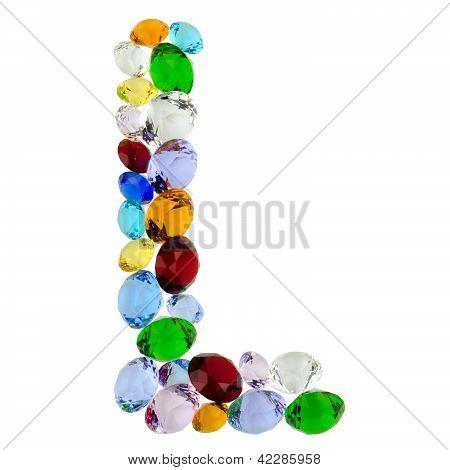 Letter L of gems