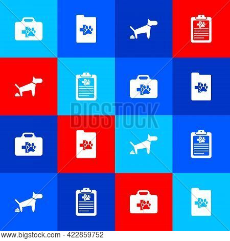 Set Pet First Aid Kit, Clinical Record Pet, Dog Pooping And Icon. Vector