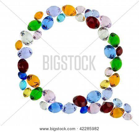 Letter Q of gems