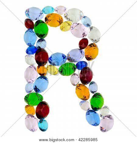 Letter R of gems