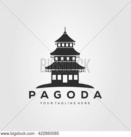 Silhouette Pagoda Temple Logo Vector Illustration Design