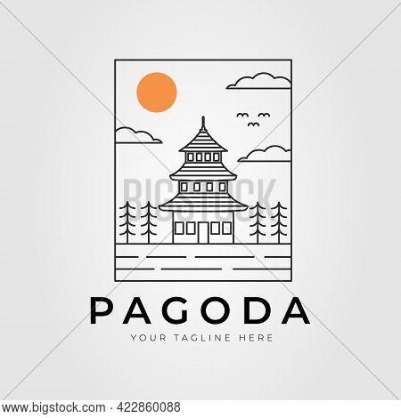 Japan Temple Pagoda Line Art Logo Vector Illustration Design