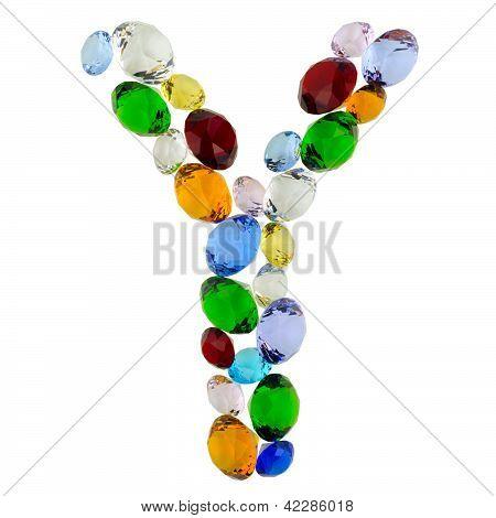 Letter Y of gems