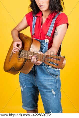 Musical Shop. Country Music Style. Attractive Beauty With Acoustic Guitar. Musical String Instrument