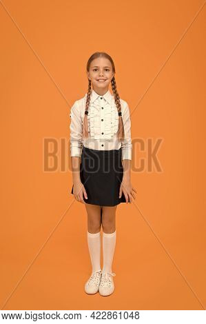 Welcome Back To School. Graduation Concept. Primary Education. Perfect Schoolgirl. Small Schoolgirl