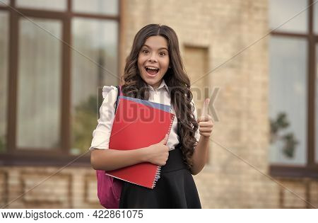 If Youre Happy Raise Your Thumb. Small Child Show Approval Gesture. Back To School. Formal Education