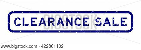 Grunge Blue Clearance Sale Word Square Rubber Seal Stamp On White Background