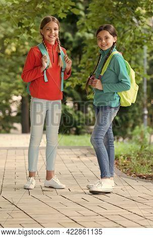 Teen Kids With Backpack. Concept Of Friendship. Best School Friends. Going To School With Fun. Schoo