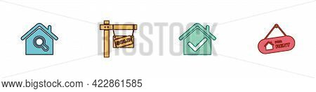 Set Search House, Hanging Sign With Sold, House Check Mark And For Rent Icon. Vector