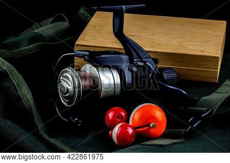 Fishing Bag With Floats Reel And Tackle Box